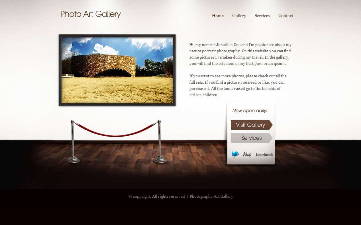Desenvolvimento e construção de site para Galerias de arte