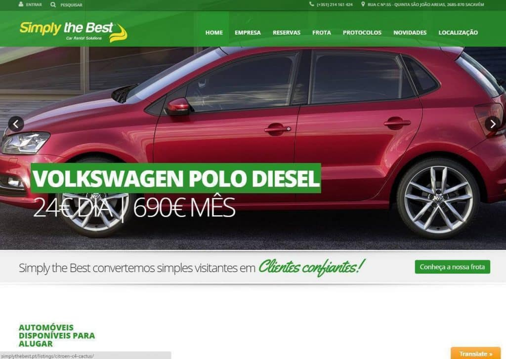 CONSTRUÇÃO DE SITES PARA RENT A CAR SIMPLY THE BEST