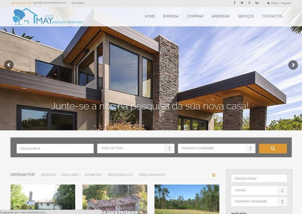 Criação e desenvolvimento de site para Imobiliária May