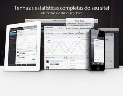 Criação de sites e oferta de estatísticas de visitas