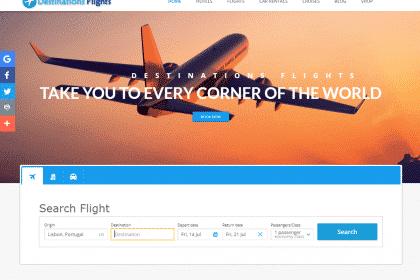 Criação de site Viagens voos, hotéis, Rent a car